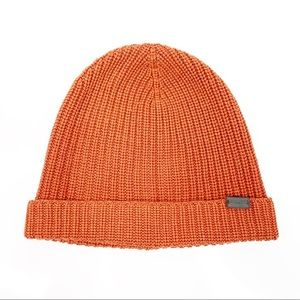 Coach Rust Orange Fitted Hat Leather Logo Beanie
